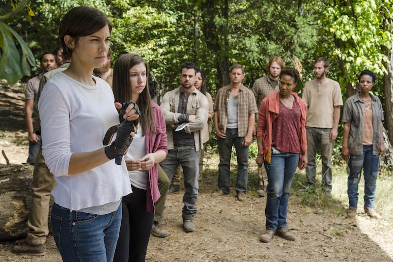 Lauren Cohan as Maggie Greene, Katelyn Nacon as Enid- The Walking Dead _ Season 7, Episode 14 - Photo Credit: Gene Page/AMC